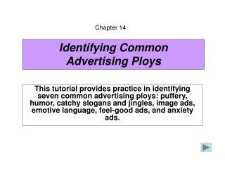 Identifying Common Advertising Ploys