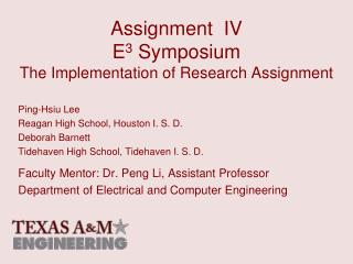 Assignment  IV E 3  Symposium The Implementation of Research Assignment