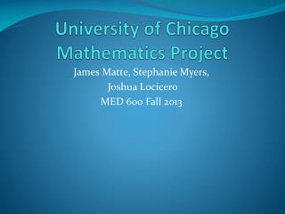 University of Chicago Mathematics Project