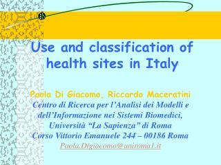 Use and classification of health sites in Italy