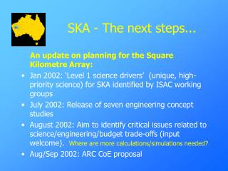 SKA - The next steps...