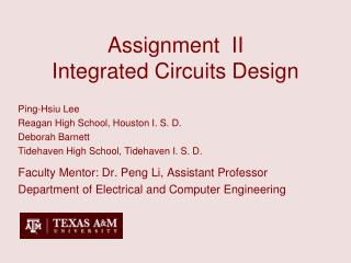 Assignment  II Integrated Circuits Design