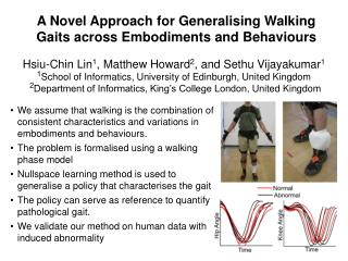 A Novel Approach for Generalising Walking Gaits across Embodiments and Behaviours