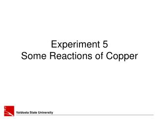 Experiment 5  Some Reactions of Copper