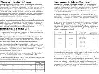 Telescope Overview & Status: