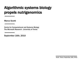 Algorithmic systems biology propels nutrigenomics