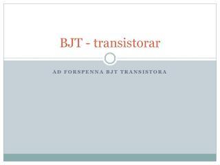 BJT - transistorar