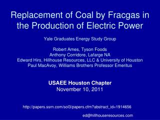USAEE Houston Chapter  November 10, 2011