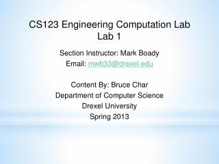 CS123 Engineering Computation Lab Lab 1