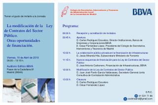 Programa: 09:30 h.Recepción y acreditación de invitados  09:45 h.Apertura