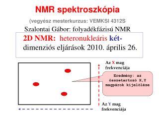 NMR spektroszkópia (vegyész mesterkurzus: VEMKSI 4312S Szalontai Gábor: folyadékfázisú NMR