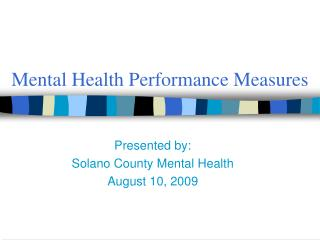 Mental Health Performance Measures