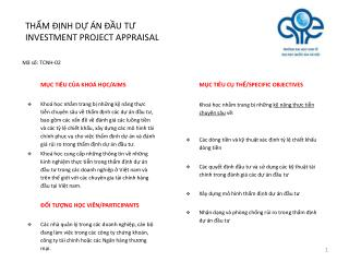 TH?M ??NH D? �N ??U T? INVESTMENT PROJECT APPRAISAL
