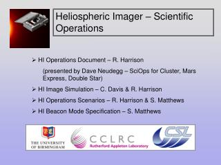 HI Operations Document – R. Harrison