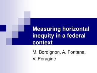 Measuring horizontal inequity in a federal context
