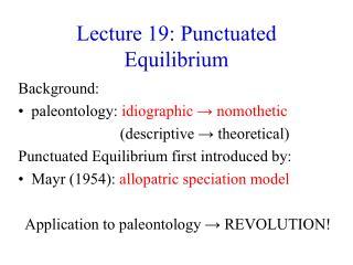 Lecture 19: Punctuated Equilibrium