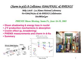 Charm in p(d)-A Collisions: E866/FNAL & PHENIX