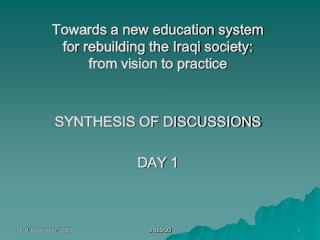 Towards a new education system for rebuilding the Iraqi society: from vision to practice
