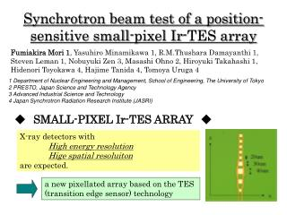 Synchrotron beam test of a position-sensitive small-pixel Ir-TES array