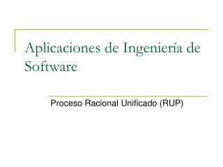 Aplicaciones de Ingeniería de Software