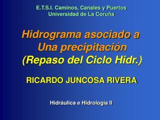 Hidrograma asociado a  Una precipitación (Repaso del Ciclo Hidr.)