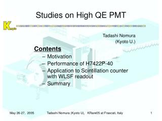 Studies on High QE PMT
