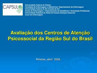Avalia  o dos Centros de Aten  o Psicossocial da Regi o Sul do Brasil