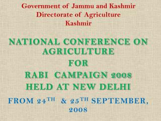 Government of Jammu and Kashmir Directorate of Agriculture Kashmir
