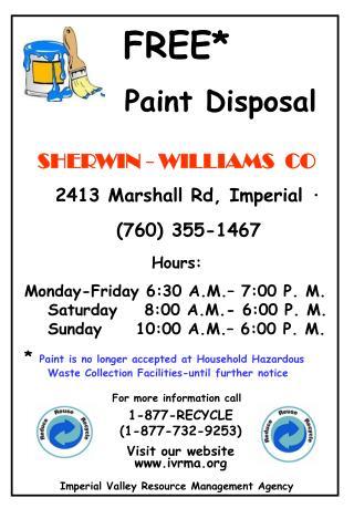 FREE*        Paint Disposal
