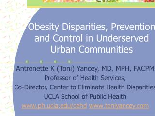 Obesity Disparities, Prevention and Control in Underserved Urban Communities