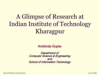 A Glimpse of Research at  Indian Institute of Technology Kharagpur