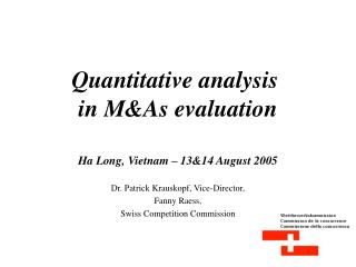 Quantitative analysis  in M&As evaluation