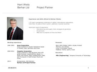 Harri Ahola Berhan LtdProject  Partner