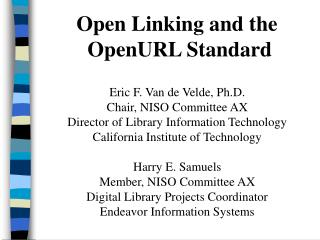 Open Linking and the  OpenURL Standard