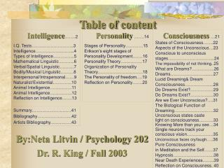 Intelligence  ..2 I.Q. Tests         ..3 Intelligence        ...4  Types of Intelligence    ...5 Mathematical Linguistic