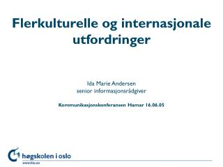 Flerkulturelle og internasjonale utfordringer