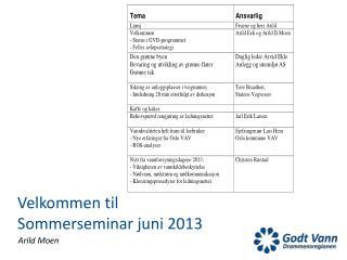 Velkommen til Sommerseminar juni 2013