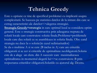 Tehnica Greedy