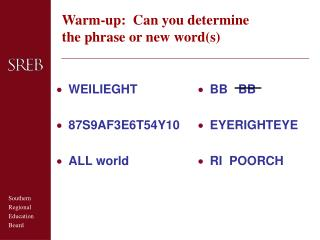 Warm-up:  Can you determine the phrase or new words