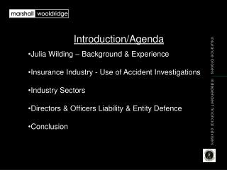 Introduction/Agenda Julia Wilding – Background & Experience