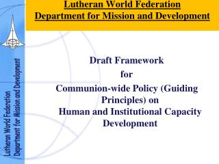 Lutheran World Federation Department for Mission and Development