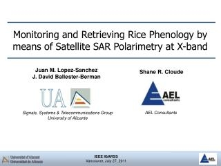 Monitoring and Retrieving Rice Phenology by means of Satellite SAR Polarimetry at X-band