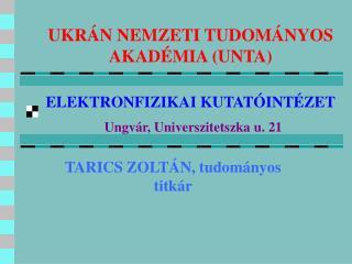TARICS ZOLTÁN, tudományos titkár