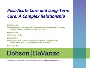 Post-Acute Care and Long-Term Care: A Complex Relationship
