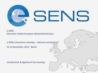 e -SENS consortium meeting � national coordinators