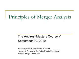 Principles of Merger Analysis