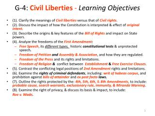 G-4: Civil Liberties - Learning Objectives