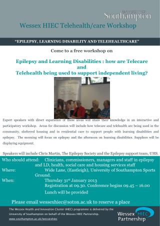 """""""EPILEPSY, LEARNING DISABILITY AND TELEHEALTHCARE"""""""