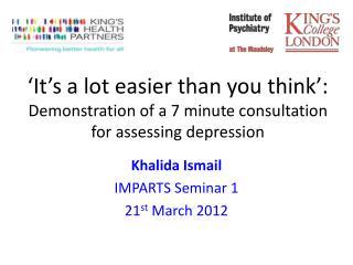 Khalida Ismail IMPARTS Seminar 1 21 st  March 2012