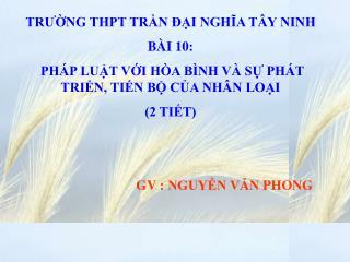 TRƯỜNG THPT TRẦN ĐẠI NGHĨA TÂY NINH  BÀI 10: